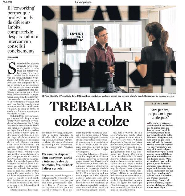Noticia del Coworking en la Vanguardia