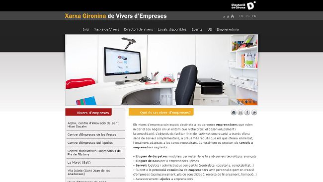 Nueva web de la Red de Viveros de empresas de Girona
